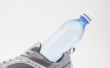 shoe and a water bottle