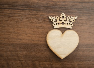 wooden heart and crown