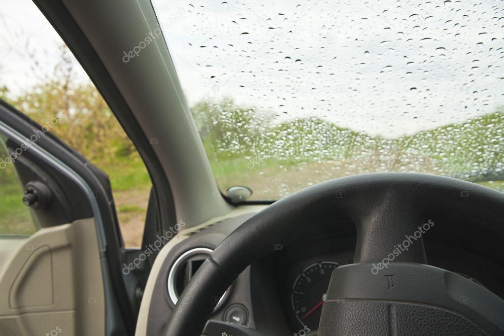 Rain on a car  window