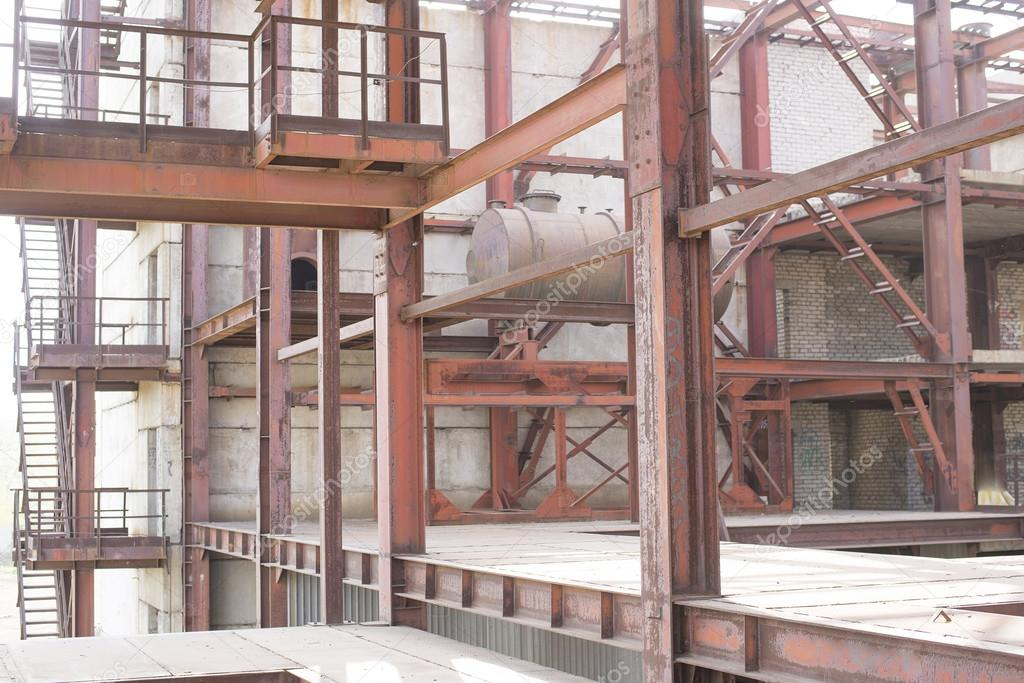 industrial construction of brown rusty beam