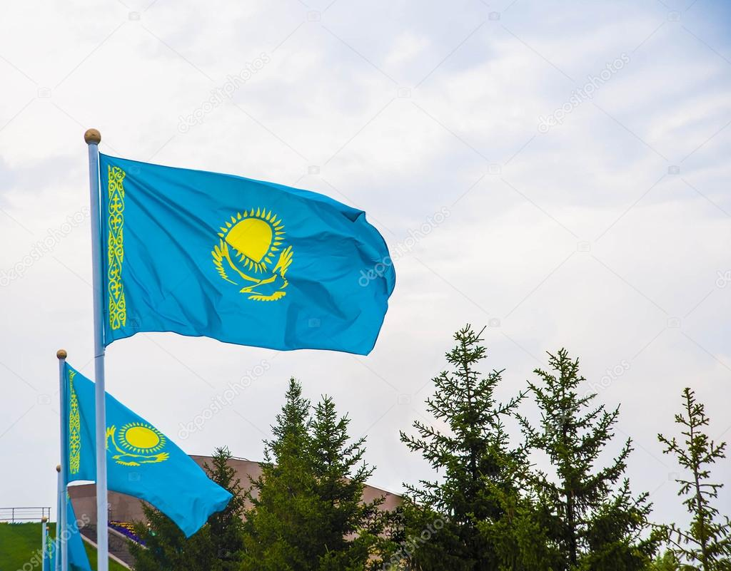 Kazakhstan flags waving