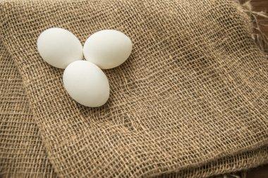 eggs on burlap material