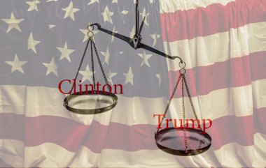 Clinton and  Trump red words on scales