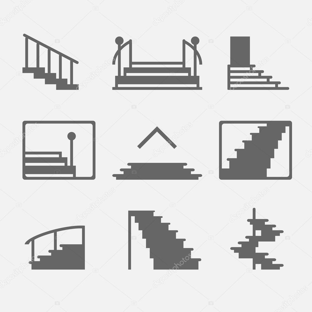 diferentes tipos de escaleras o escalera iconos conjunto de vector de smbolos o elementos del logotipo u vector de cvetoed