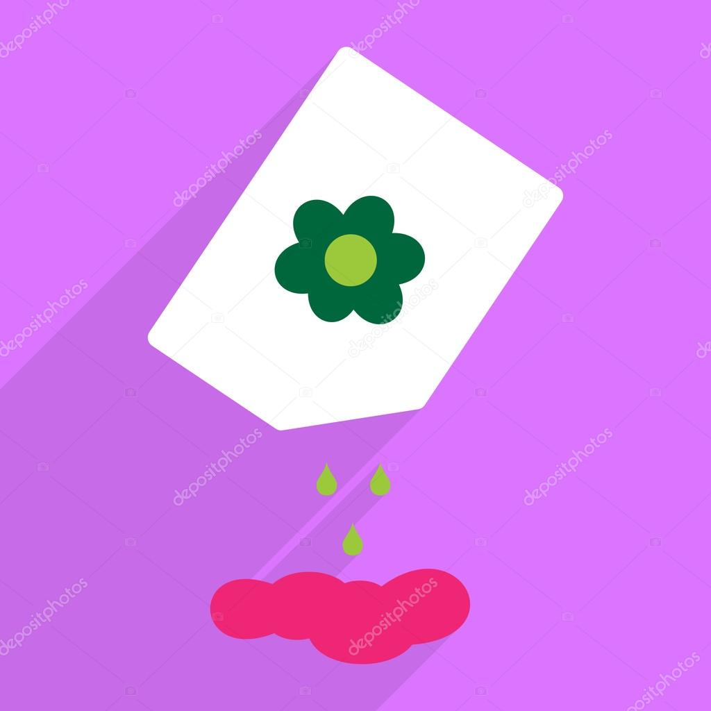 Flat design with shadow and modern icon plant flowers