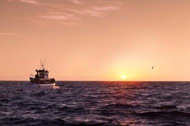 Boat sailing towards the sunset