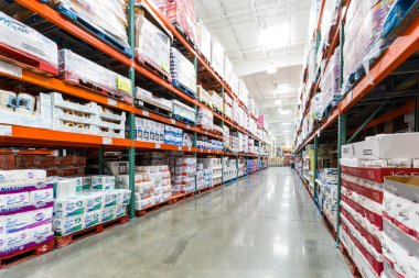 Aisle with napkins in a Costco store