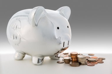 Piggy bank and a pile of coins