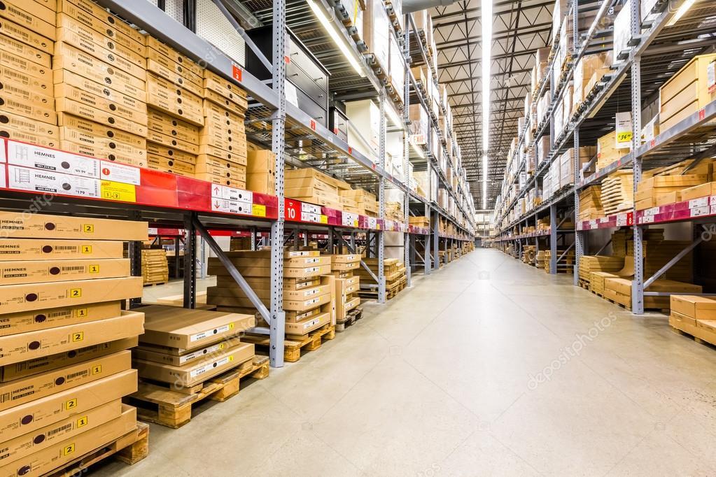 warehouse aisle in an ikea store stock editorial photo mandritoiu 82411428. Black Bedroom Furniture Sets. Home Design Ideas