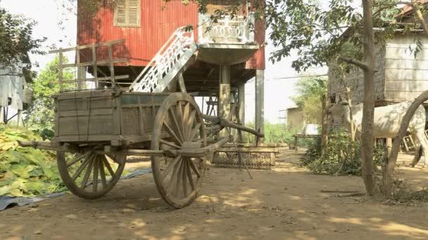 Venkovské vozík s zásobník tabáku ponechává na farmě