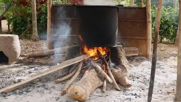 Large pot cooking over open fire on wood and stone