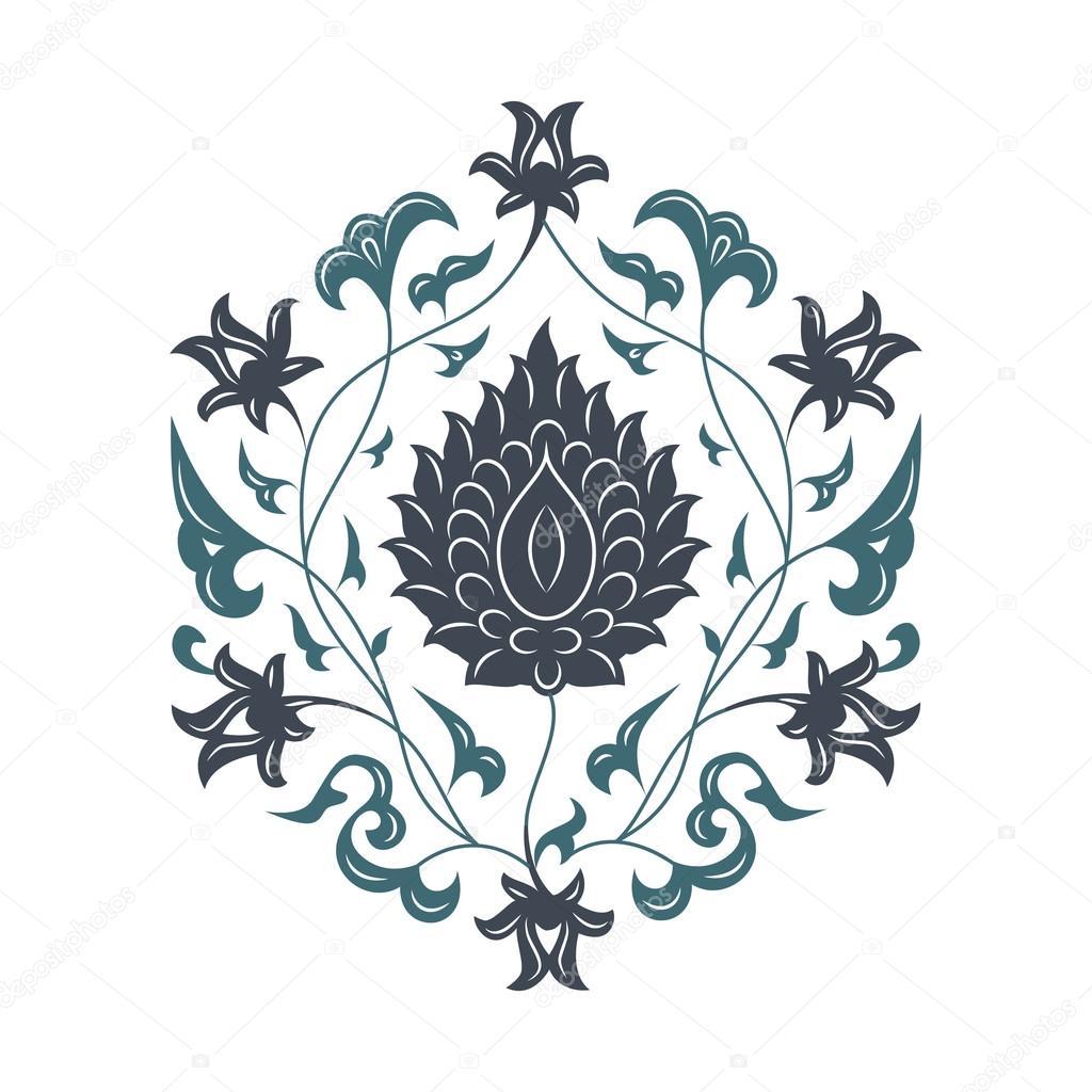 Oriental floral pattern, blue.