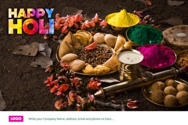 Happy holi greeting card, holi wishes, greeting card of indian festival of colours called holi, season's greetings, indian festival greeting, indian food & colours arranged on ground for holi greeting stock vector