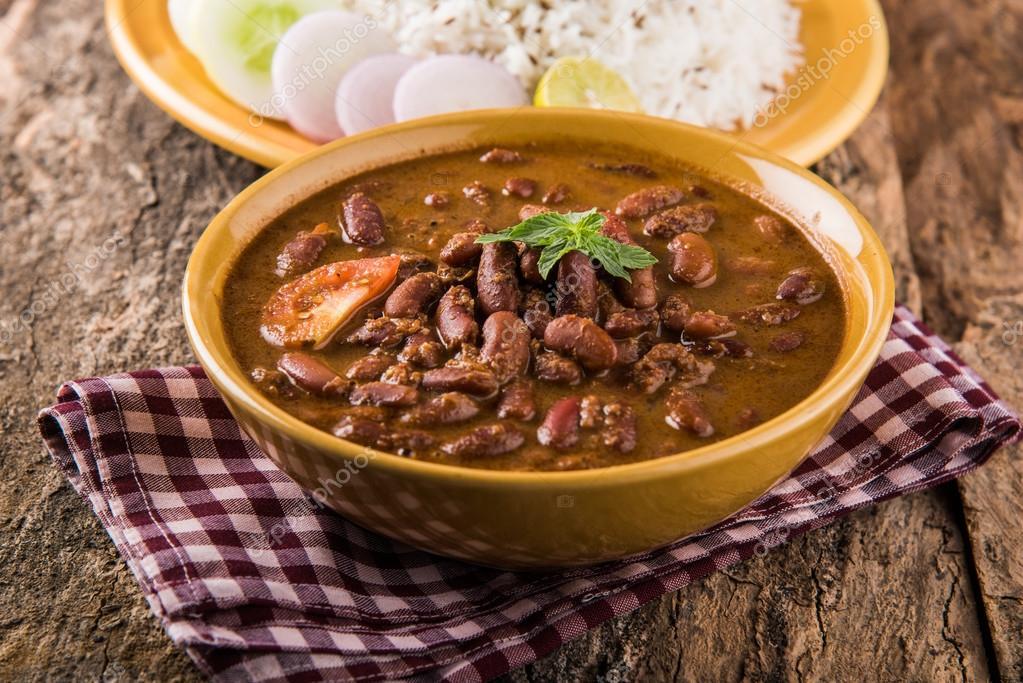 Gotowanej Fasoli Czerwonej Curry I Gotowane Ryz Basmati Rajma