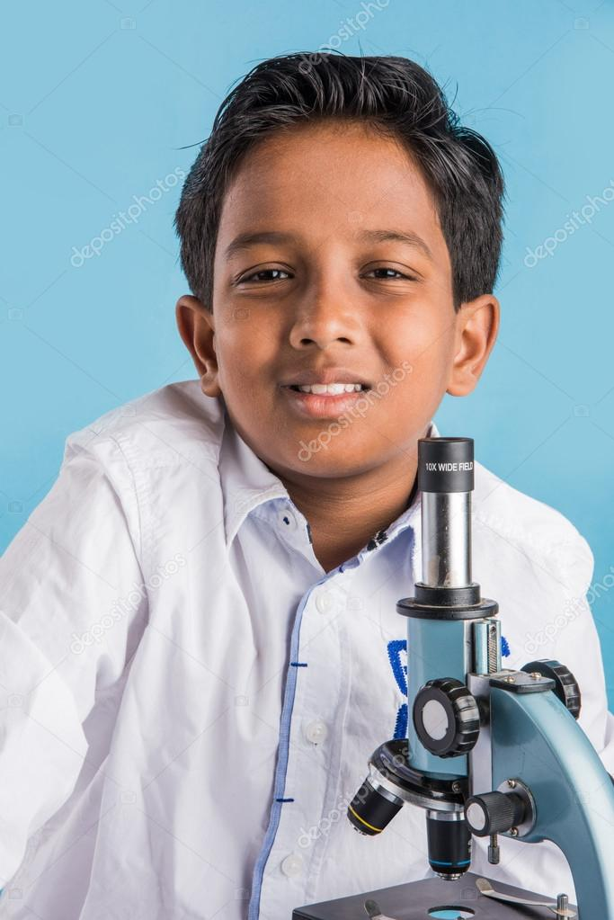 Indian Boy And Microscope Asian Boy With Microscope Cute Little