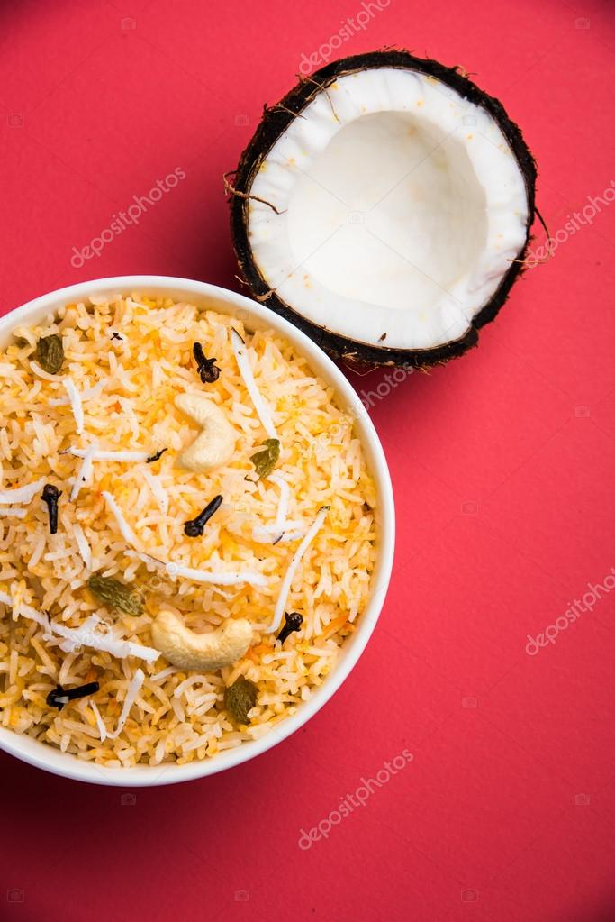 Coconut sweet rice sweet coconut rice also known as narali bhat in coconut sweet rice sweet coconut rice also known as narali bhat in marathi favourite indian sweet konkan food photo by subodhsathe forumfinder Choice Image