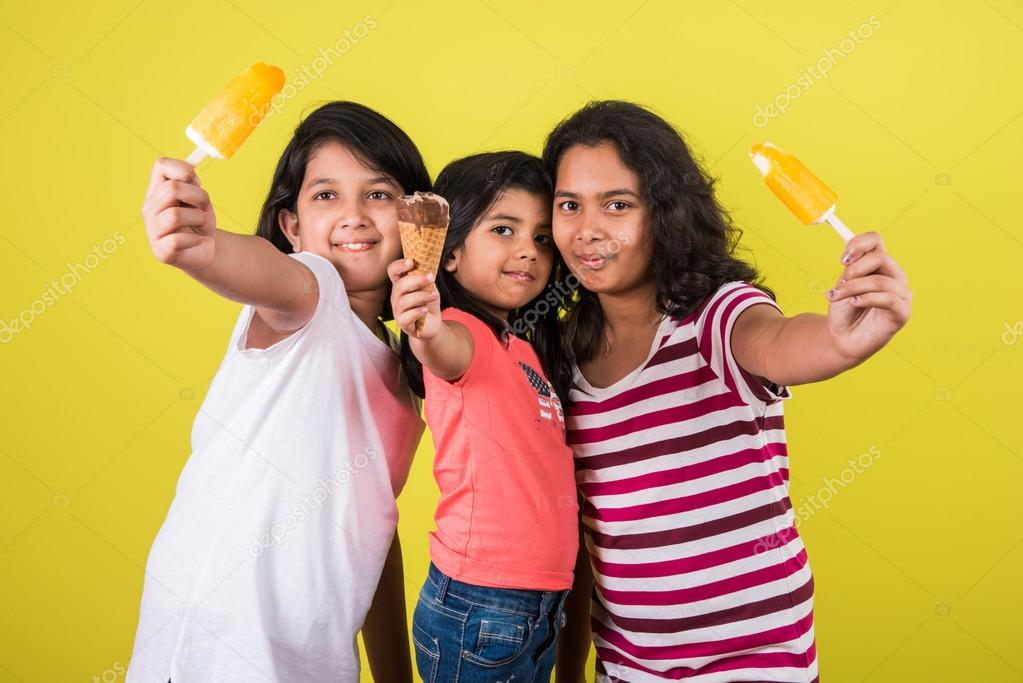 Three Cute Little Indian Kids Eating Ice Cream Asian Girls