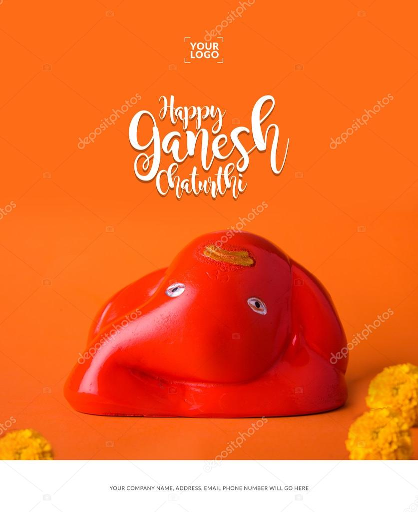 Happy ganesh chaturthi greeting card showing photograph of lord happy ganesh chaturthi greeting card showing photograph of lord ganesha idol stock photo m4hsunfo
