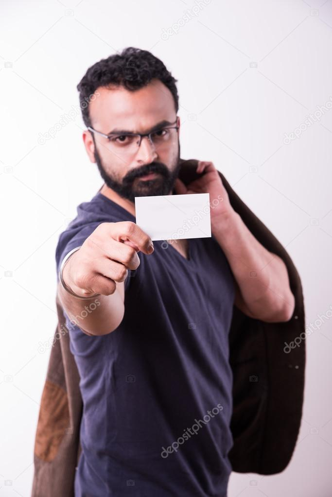 hipster indian young man with beard and mustache Displaying Blank ...