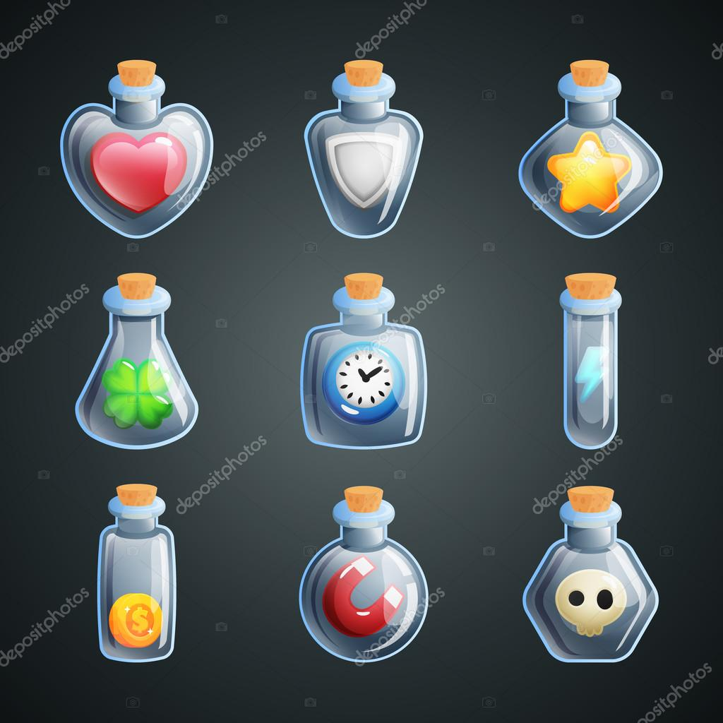 Magic potions for game. Power ups and bonuses for game