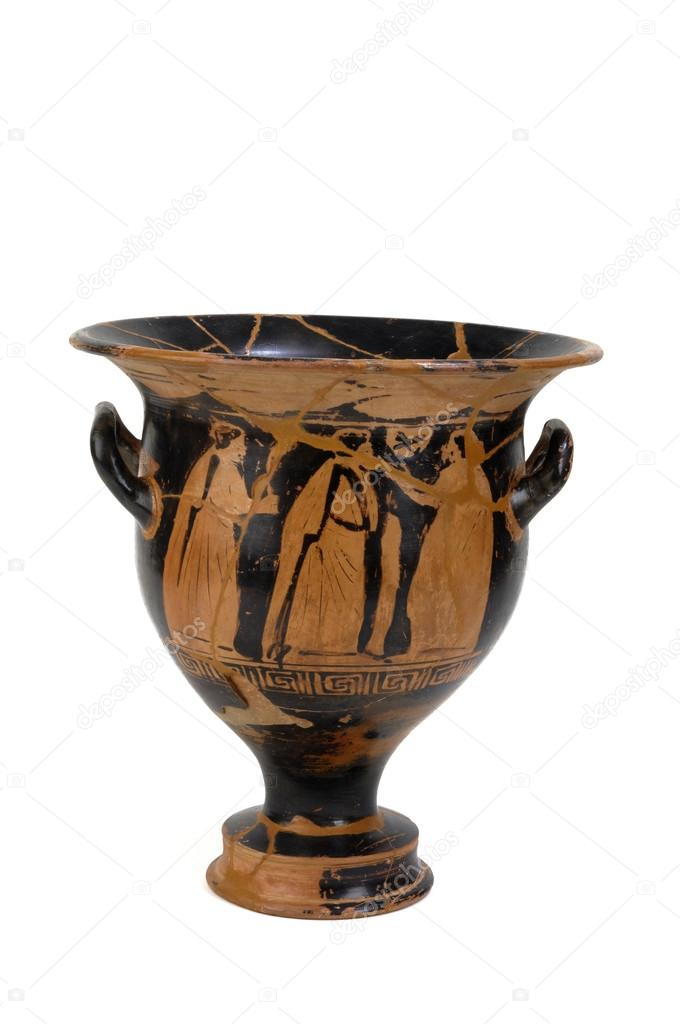 Ancient Greek Vase Painted With Human Figures Stock Photo