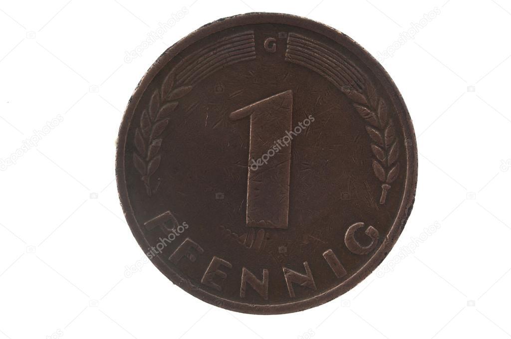 Alte Münze Datiert 1950 Ein Pfennig Deutsche Münze Stockfoto