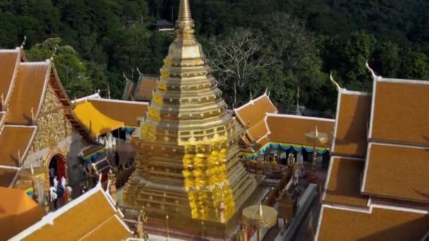 Aerial Shot at Wat Pra that Doi Suthep Chiang Mai, Thailand.