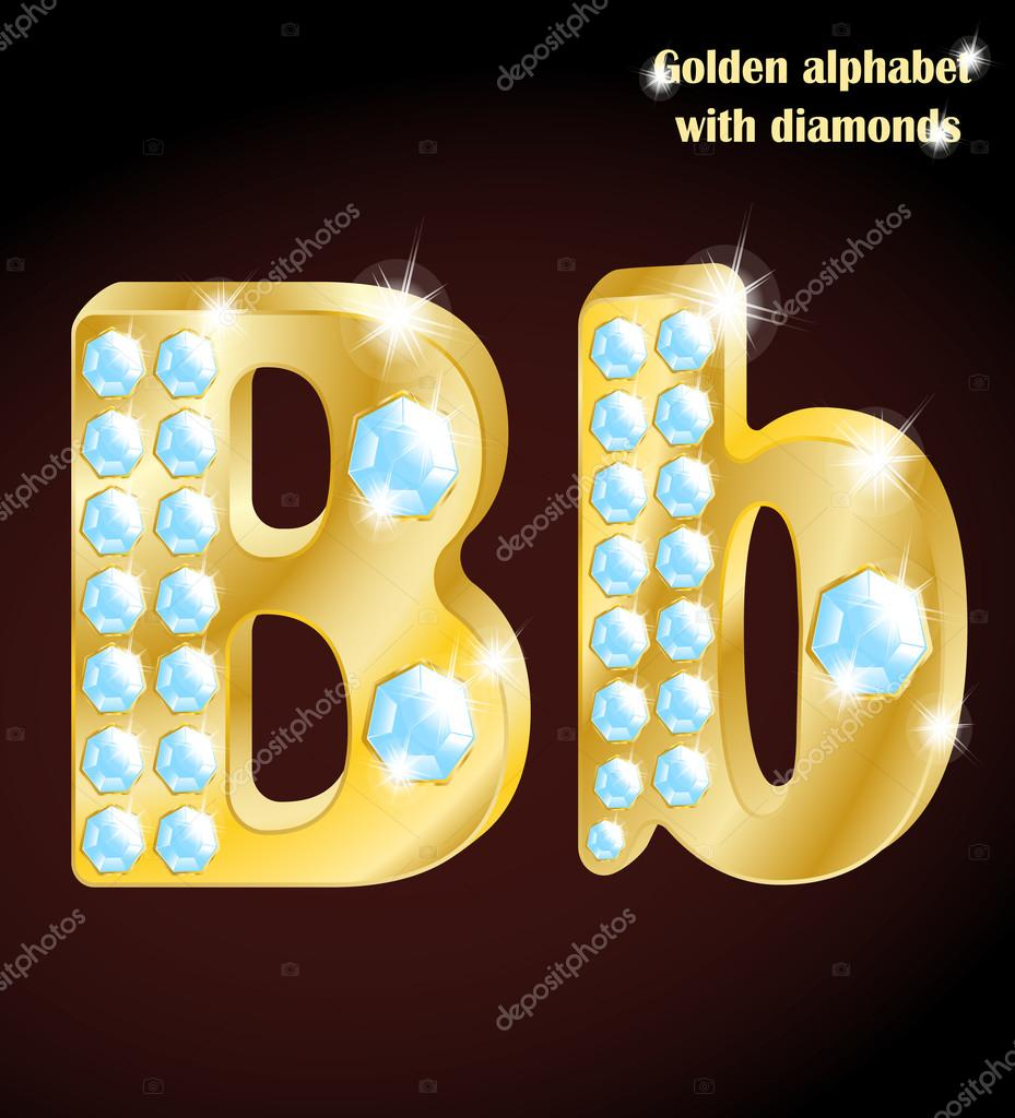 Golden Alphabet With Diamonds Uppercase And Lowercase Letter B