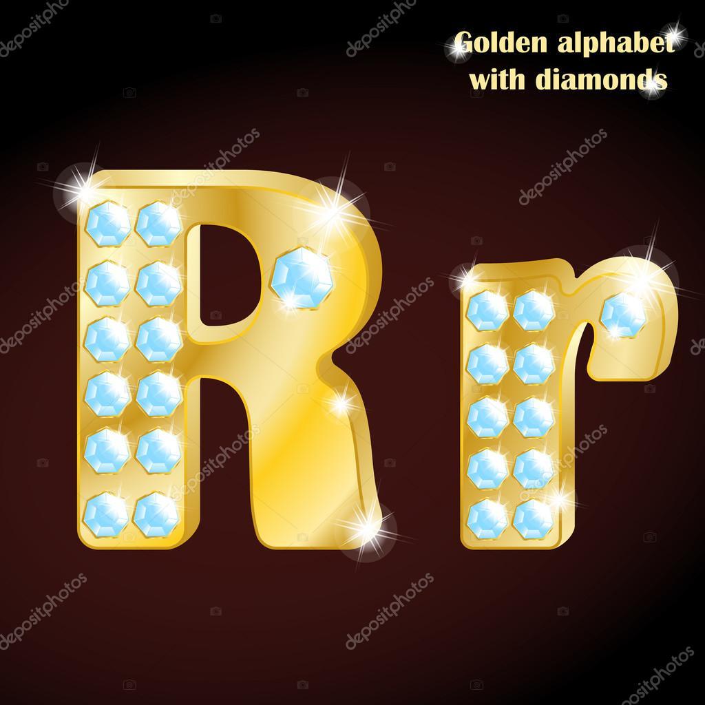 Imagenes La Letra R Mayuscula Y Minuscula Alfabeto Dorado Con