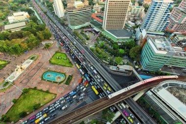 Landscape building modern business district of Bangkok. X-shaped