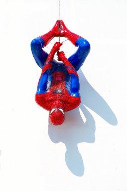 Ayuttaya, Thailand - December 30, 2014 : Spider-Man model upside
