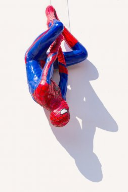 Ayuttaya, Thailand - November 15, 2015 : Spider-Man model upside