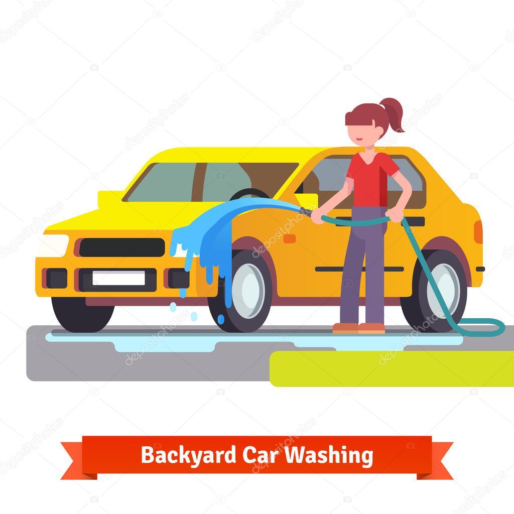 femme de laver sa voiture familiale image vectorielle iconicbestiary 82394058. Black Bedroom Furniture Sets. Home Design Ideas
