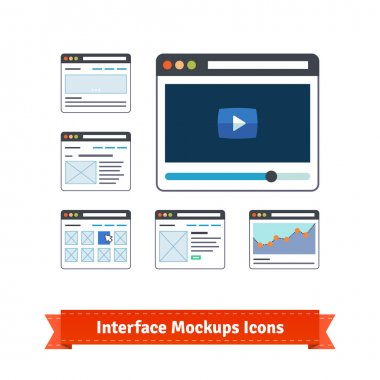 Website interface prototyping mockups, wireframes