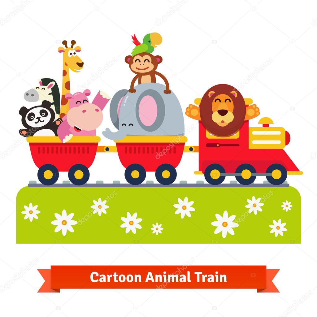 Cartoon happy animal train. Locomotive and cars.