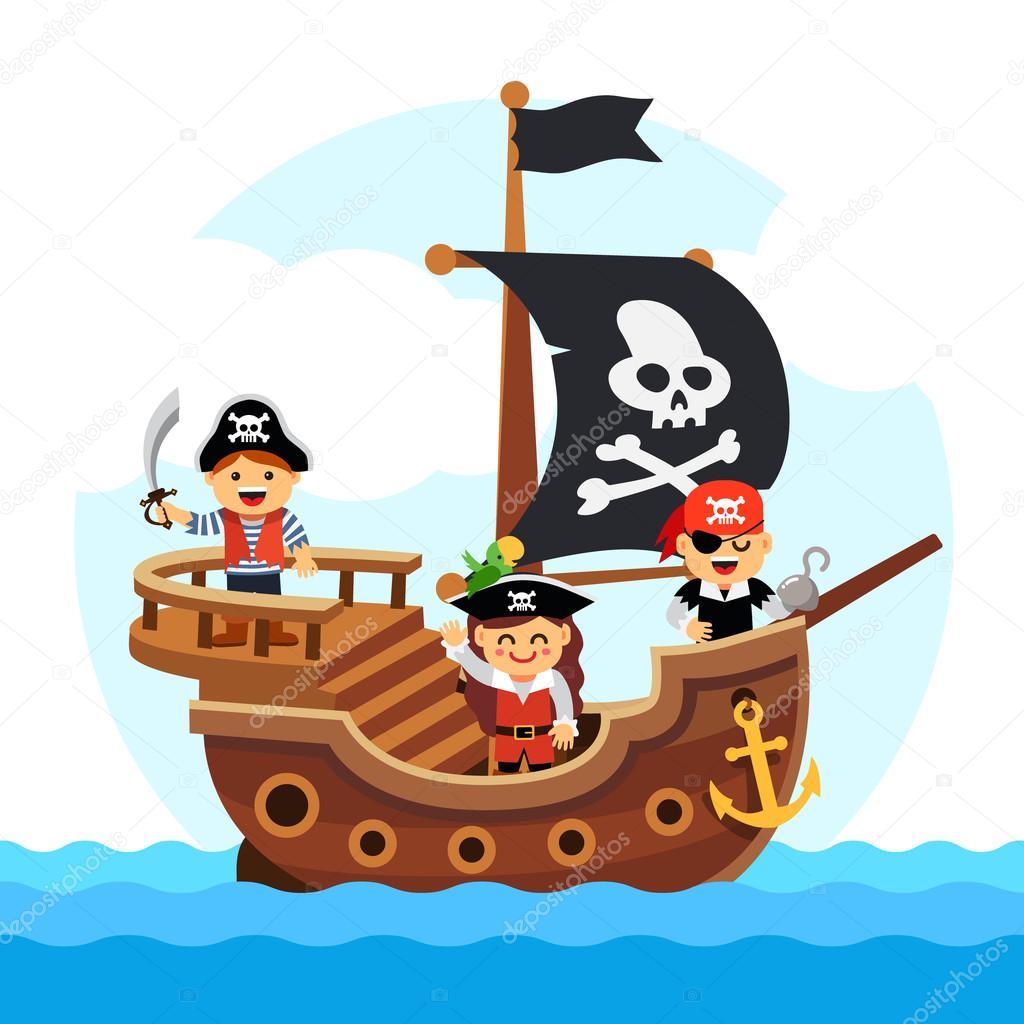 Desenhos animados crianças pirata navio à vela mar