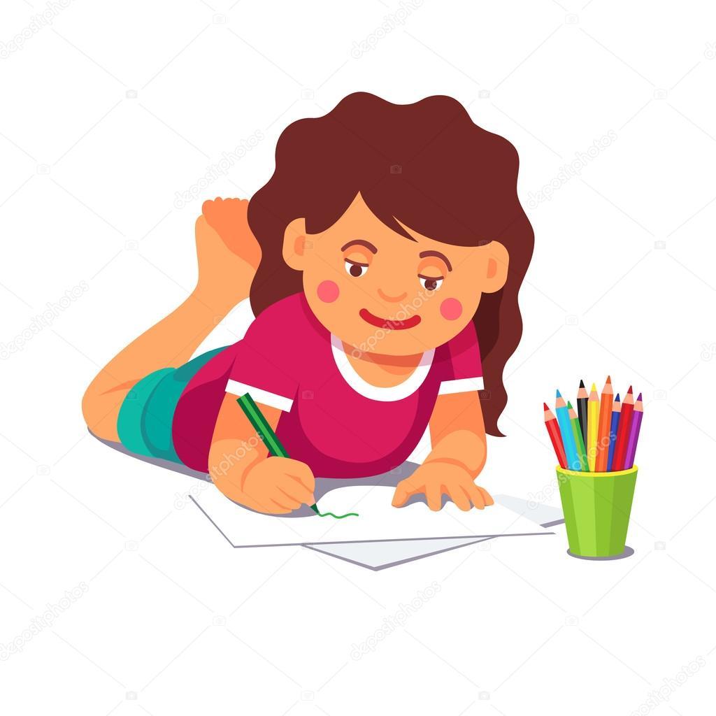 Chica dibujando con lápices tirados en el suelo — Vector de stock