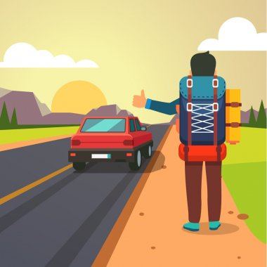 Hitchhiking road travel. Man with a big backpack stopped a ride by thumbing. Flat style vector illustration. stock vector