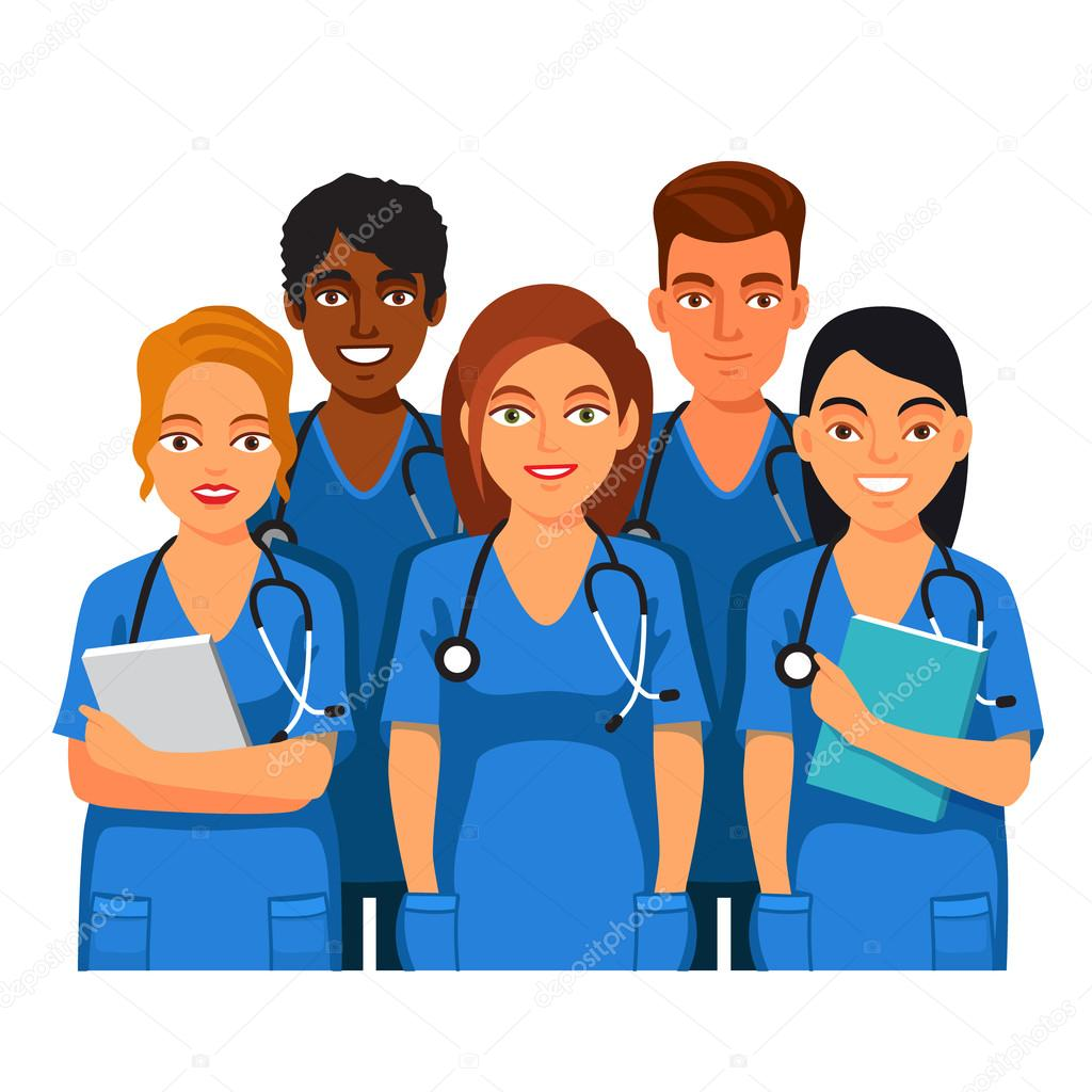 Group Of Medical Students Nurses Or Interns Stock Vector