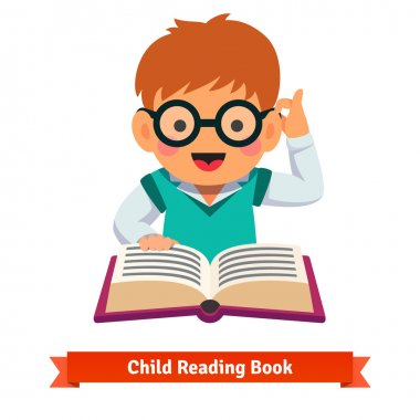 Small boy playing in glasses reading book