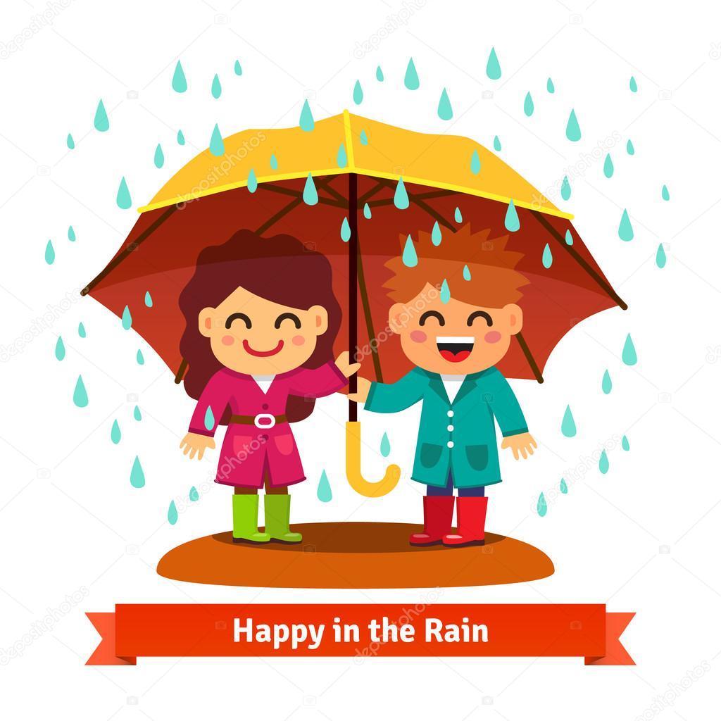 Niño y niña en la lluvia bajo paraguas — Archivo Imágenes ...