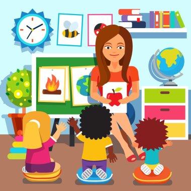 Kindergarten. Children studying in classroom