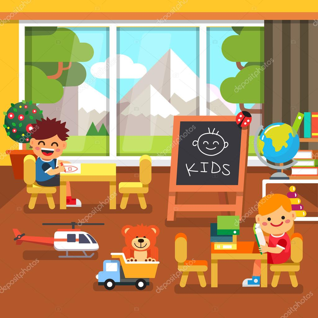 Modern kindergarten playroom with great mountains view in the window. Kids sitting and playing in the classroom. Flat style cartoon vector illustration with isolated objects. stock vector