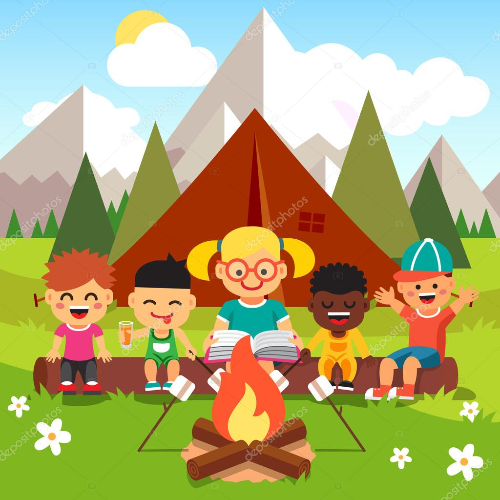 Kindergarten kids camping in the forest