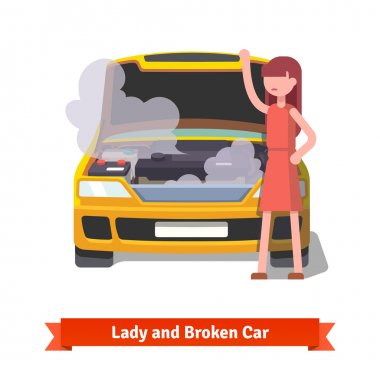 Woman looking under the hood of her broken car