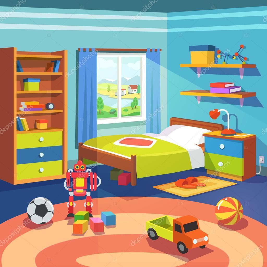 Habitaci n de ni o con cama armario y juguetes en el piso for Dormitorio animado