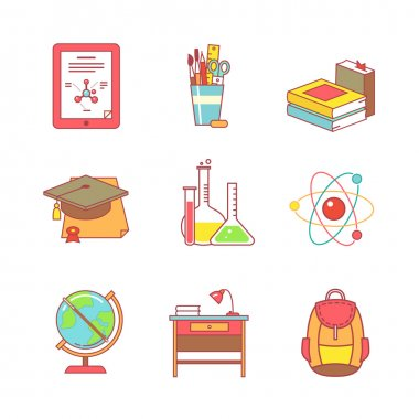 Education learning and school thin line icons set