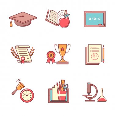 Education icons thin line set
