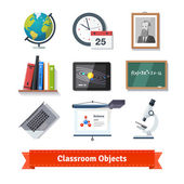 Classroom objects  icon set.