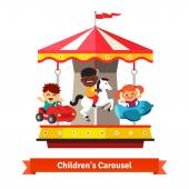 Fotografie Kinder haben Spaß auf dem Karnevalskarussell